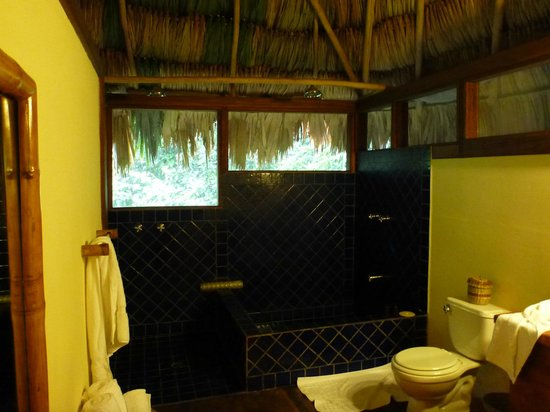 Blancaneaux Lodge:                   Shower and bath