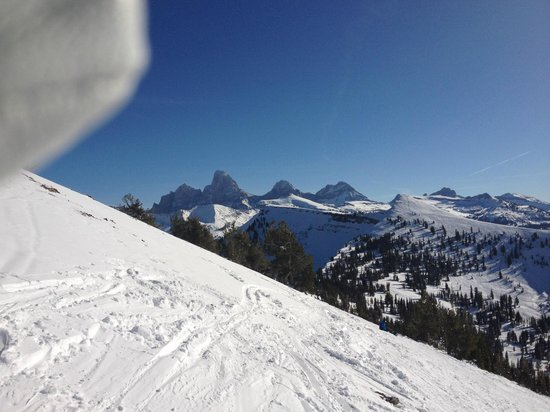 Grand Targhee Ski Resort:                   View of Tetons from the slopes