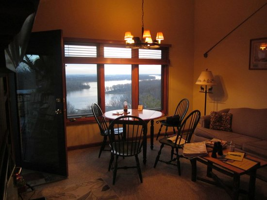Tara Point Inn and Cottages:                   Mississippi River from dining table in cottage R1