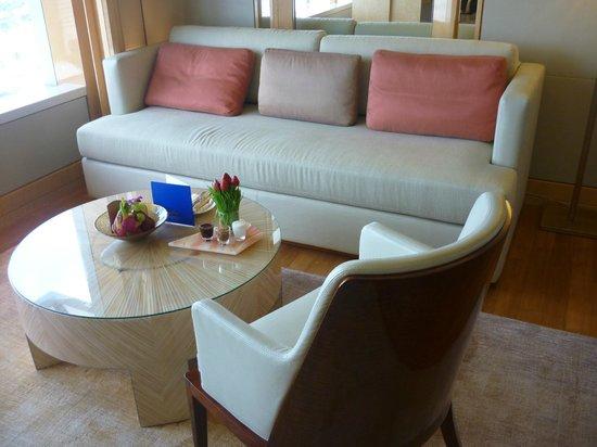 "The Ritz-Carlton, Millenia Singapore: The large sofa in the ""living room"" area"