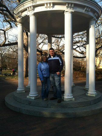 Chapel Hill University Inn :                   Wife and I at the Old Well