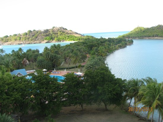 Grand Royal Antiguan Beach Resort:                   pool, lagoon, ocean and beach area from our room