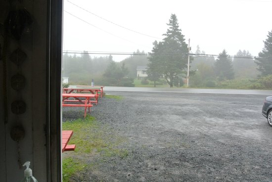 Ryer Lobsters:                   Looking out - rainy day, had to eat inside