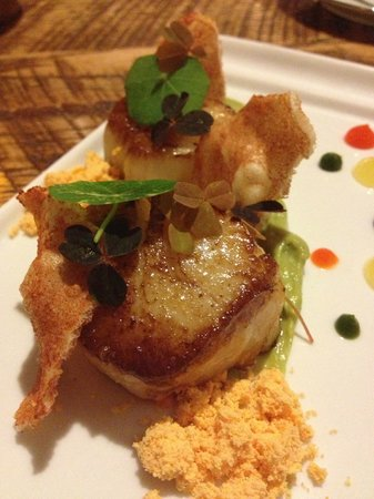 Veritas Tavern:                   Scallops + Puffed Spanish Rice + Salsa + Avocado