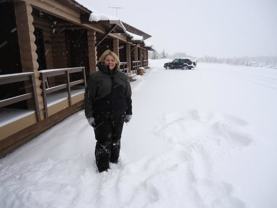 Flaming Gorge Resort :                   Front of standard motels - January 2013 Fresh Snow