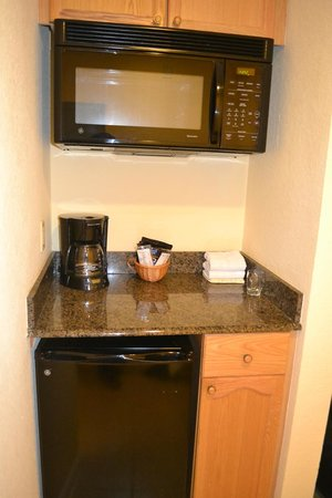 Silver Lake Resort:                   This is the partial kitchen in the hotel unit. Glad to have the refrigerator f