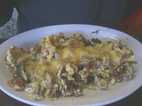 Top of the morning cafe :                   Cheesy Meaty Eggs, were just what the doctor ordered.