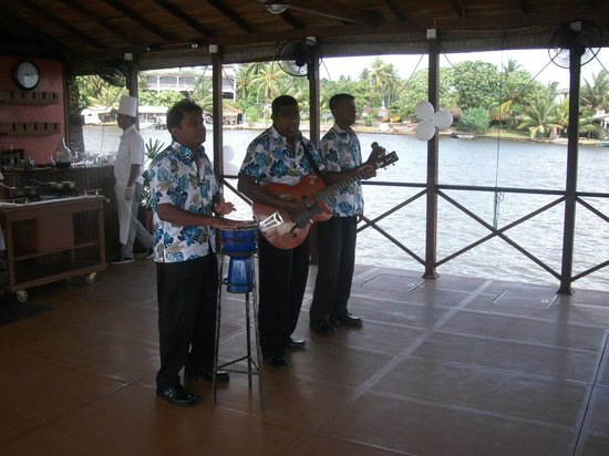 Bentota Beach by Cinnamon:                   Our band on the pontoon