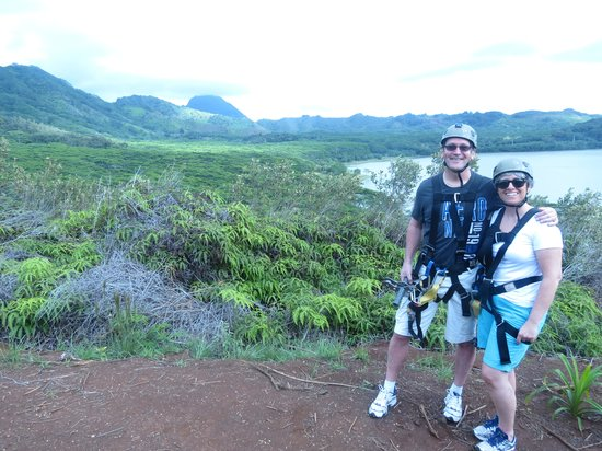 Koloa Zipline:                   Us with our Gear on!