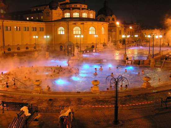Corinthia Hotel Budapest:                   The baths lit up.