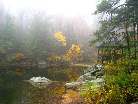 Mohonk Mountain House:                   On the trail around the lake