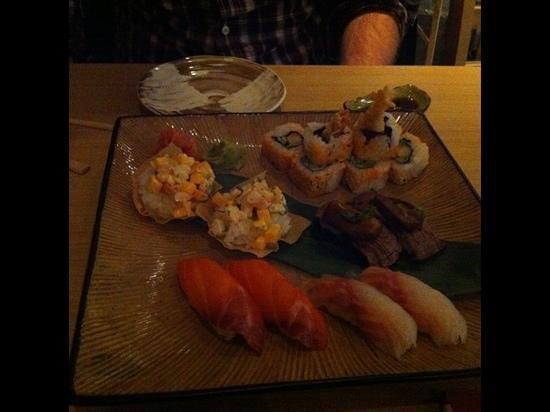 Goto Japanese Restaurant:                   Prawn & mango, tempura prawn, beef and shitake mushroom, salmon, and wild sea