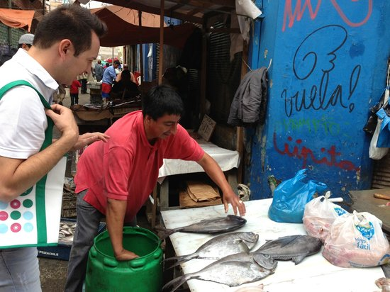 Chilean Cuisine Cooking Classes:                   Boris (left) teaching us how to buy really fresh fish