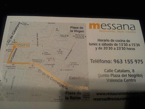 Restaurante Messana:                   mappa su biglietto da visita
