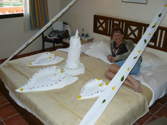 Resta Reef Resort:                   Mustafa's magic - towel folding skills!