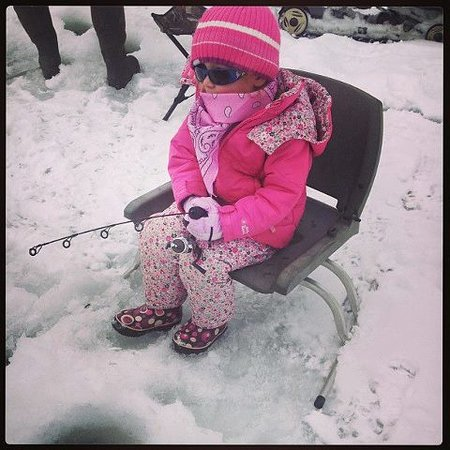 Western Riviera Lakeside Lodging & Events: Young one learning how to ice fish on Grand Lake