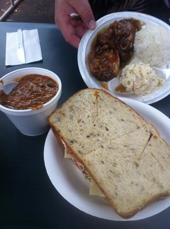 Eagles Lighthouse Cafe: huge sandwich, cup of chili and the chicken hit plate.