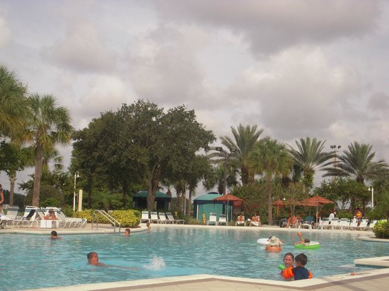 Holiday Inn Club Vacations At Orange Lake Resort:                   Cloudy but still a great pool area to relax