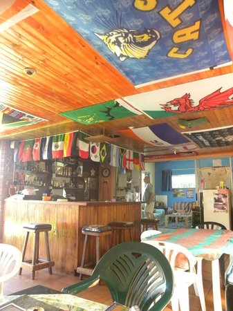 Bob's Bunk House:                   Note the flag-hung ceiling and bar area.  All the World Cup players represente