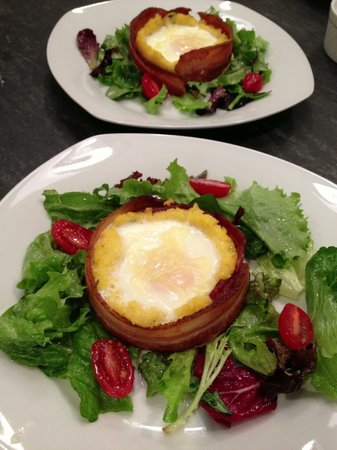 Inn on Randolph:                   Apple smoked bacon wrapped polenta and egg