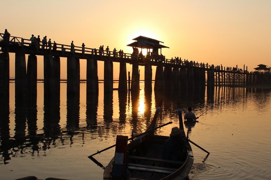 Amarapura, Burma:                   U Bein Bridge Mandalay