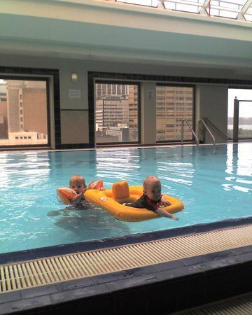 Sheraton on the Park, Sydney:                   Kids having a ball in the pool on the roof of the hotel