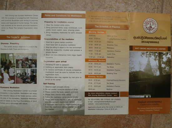 Wat Umong:                   Brochure on meditation