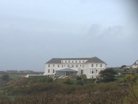 Polurrian Bay Hotel :                   View of hotel on walk back from Mullion Cove