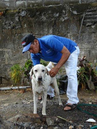 Latina Hostal: Alejandro bañando a Chela