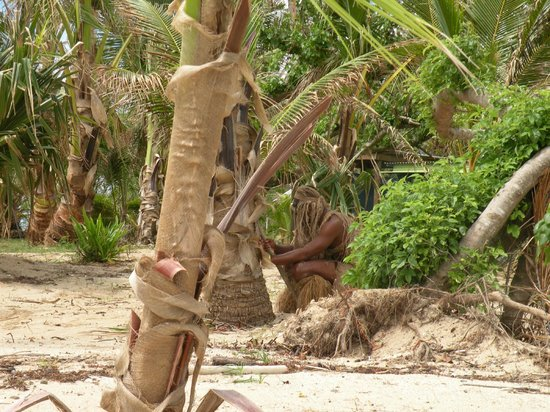 Robinson Crusoe Island Resort:                   One of the welcoming party workers with a great sense of humor waiting for vis