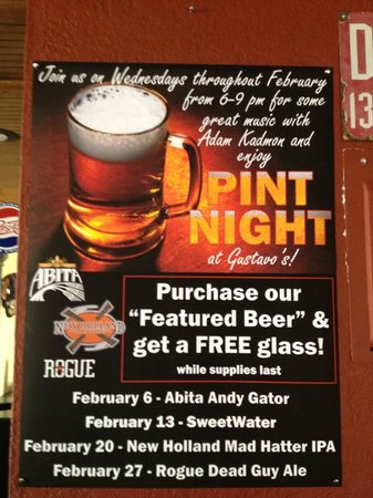 Gustavo's: Pint Night Every Wednesday