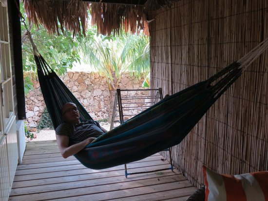 Bamboo Bali Bonaire Resort:                   Chilling out at the veranda
