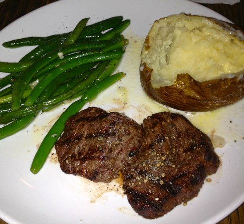 Rio Chama Steakhouse:                   3 Pepper Crusted Petit Filets of Beef Tenderloin