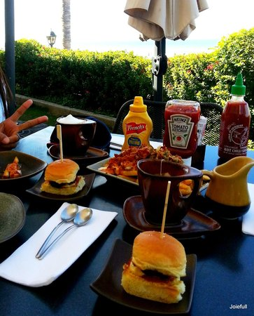 Slider Station:                   my friend and I ordered Wagyu slider, delta force fries, cappucino and tea!