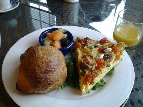 Pomegranate Inn:                   Veggie frittata with popovers.