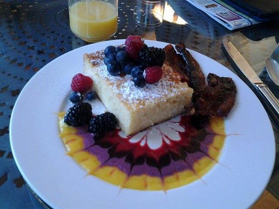 Pomegranate Inn:                   Blintz souffle with fresh berries.