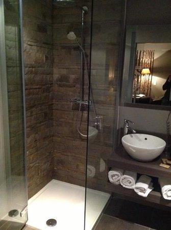 Tuinhotel:                   De douche van de luxekamer