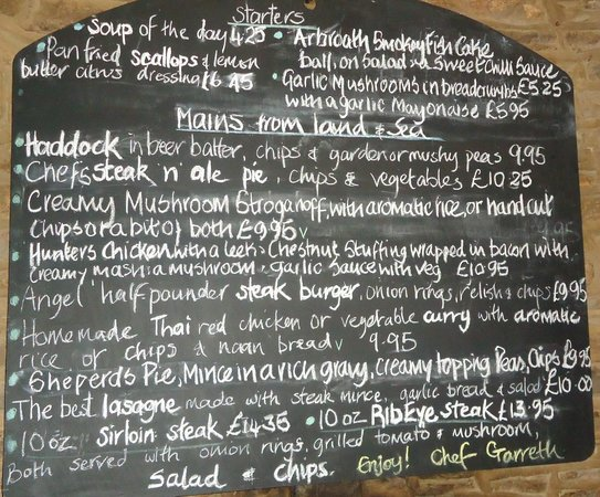 The Angel:                   menu board