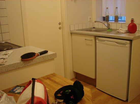 Guesthouse Sunna:                   kitchenette et porte salle de bain