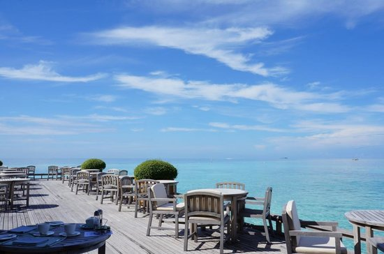 Baros Maldives:                   View from Lime Restaurant (daily breakfast)