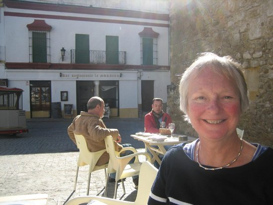 La Muralla:                   My wife Chris with the restaurant in the background