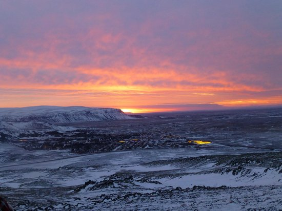 Gateway to Iceland:                   The sun rises as we begin our trip southward