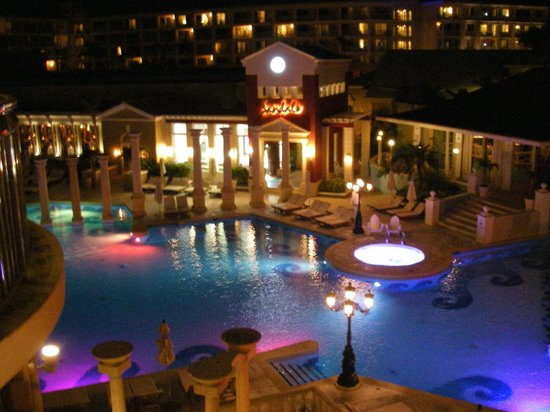 Sandals Royal Bahamian Spa Resort & Offshore Island: One of two main pools at night