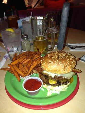 Hamburger Mary's: one pound burger with sweet potato fries
