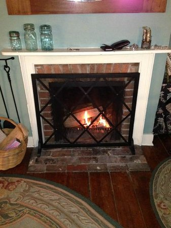 Dr. Dodson House Bed & Breakfast:                   Wood burning fireplace in Harrison room