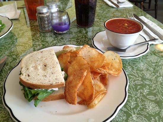 The Odd Fellows Cafe: homemade chicken salad sandwich with homemade vegetable soup and chips!