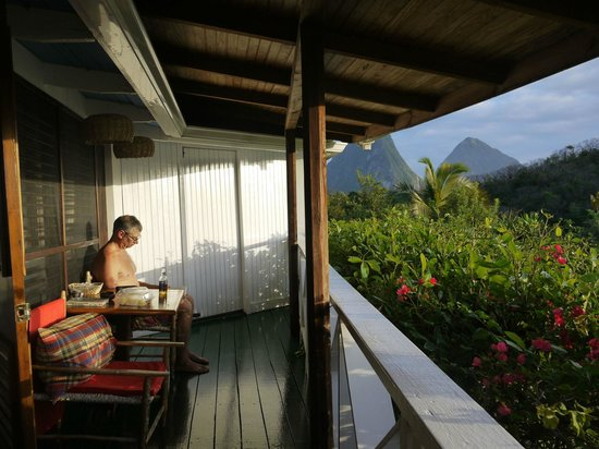 Anse Chastanet:                   Enjoying peace on veranda