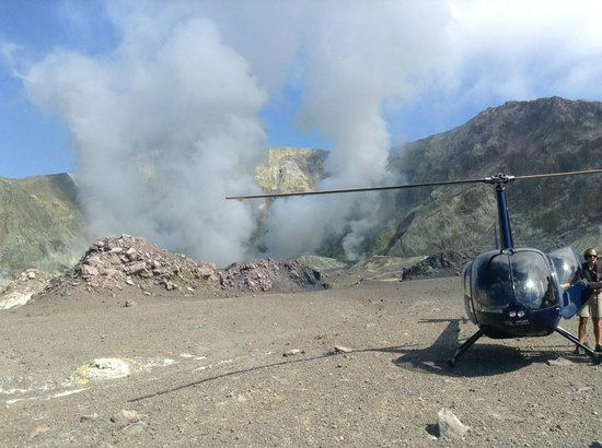 Volcanic Air:                   Helicopter landed on White Island