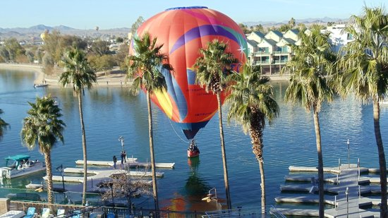 London Bridge Resort :                                     Balloon touches water (as sseen from balcony)