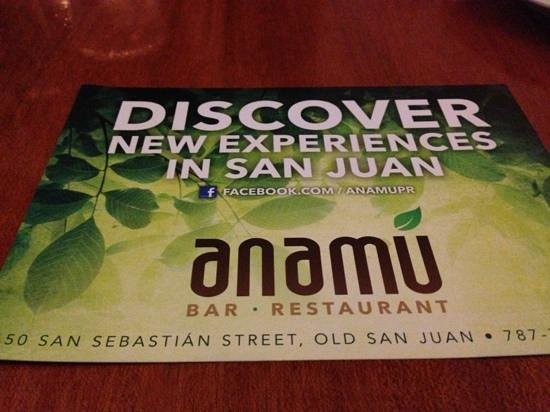 Anamu Bar & Restaurant:                                     folder that they give you to get you in...